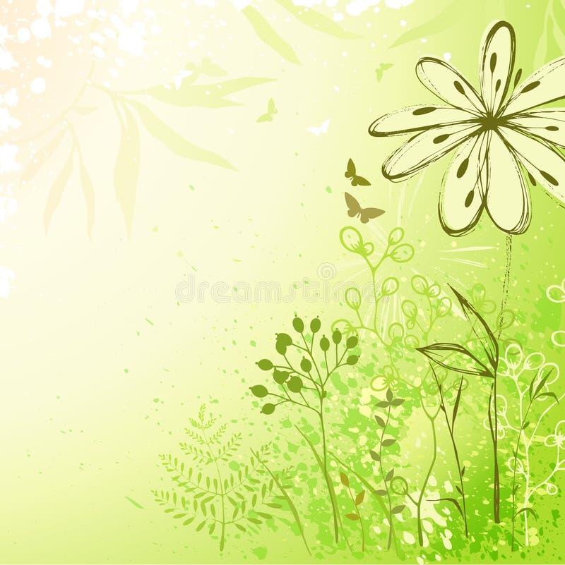 Fundo floral verde fresco ilustração stock