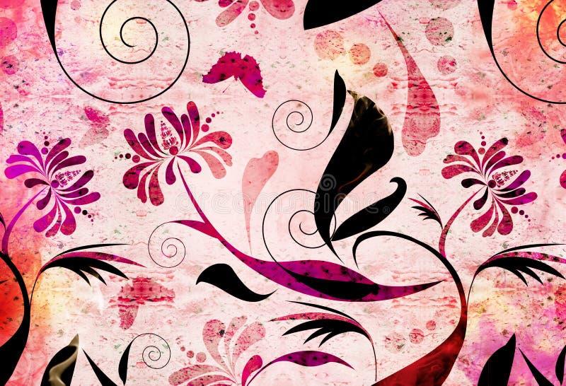 Fundo floral vermelho ilustração stock