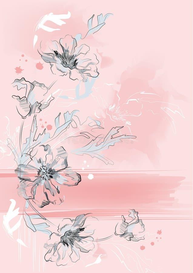 Fundo floral vertical ilustração royalty free