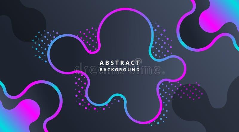 Fundo fluido moderno dinâmico de néon escuro de Techno ilustração stock