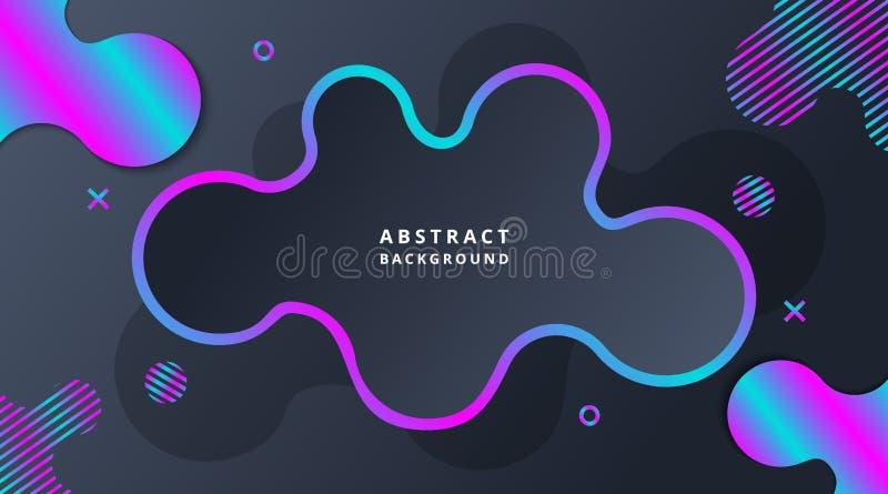 Fundo fluido moderno dinâmico de néon escuro de Techno ilustração royalty free