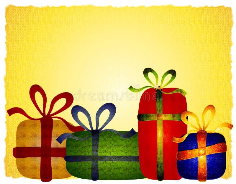 Fundo Folksy rústico dos presentes do Natal ilustração stock