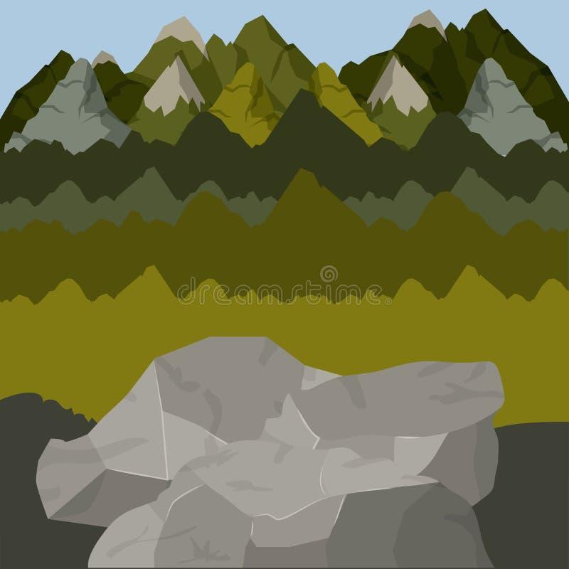 Fundo fora da floresta scenary com montanhas altas e rochas ilustração do vetor