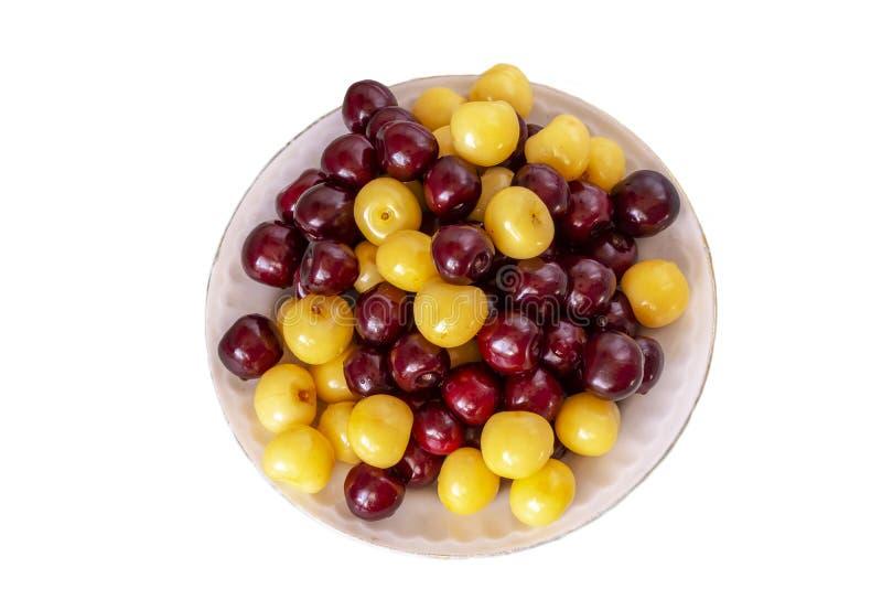 Fundo fresco da cereja Detalhe macro, cherryes isolados Fundo do alimento fotos de stock royalty free
