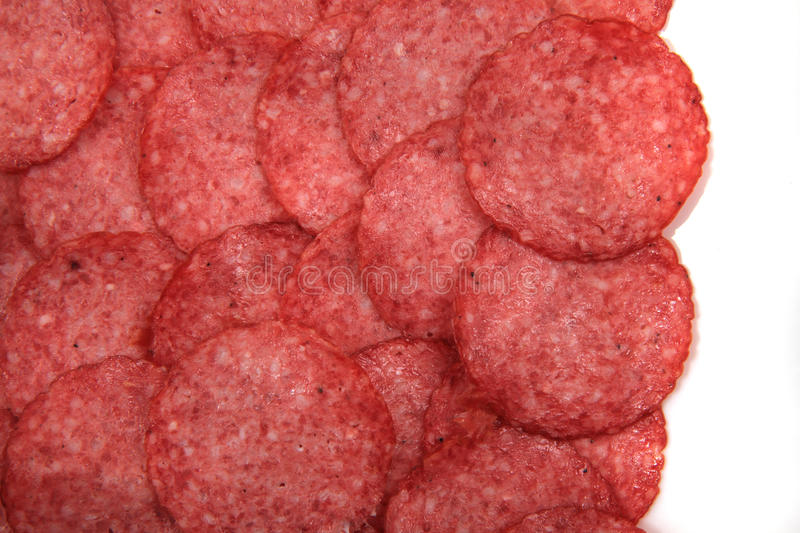 Fundo fresco do salame fotografia de stock