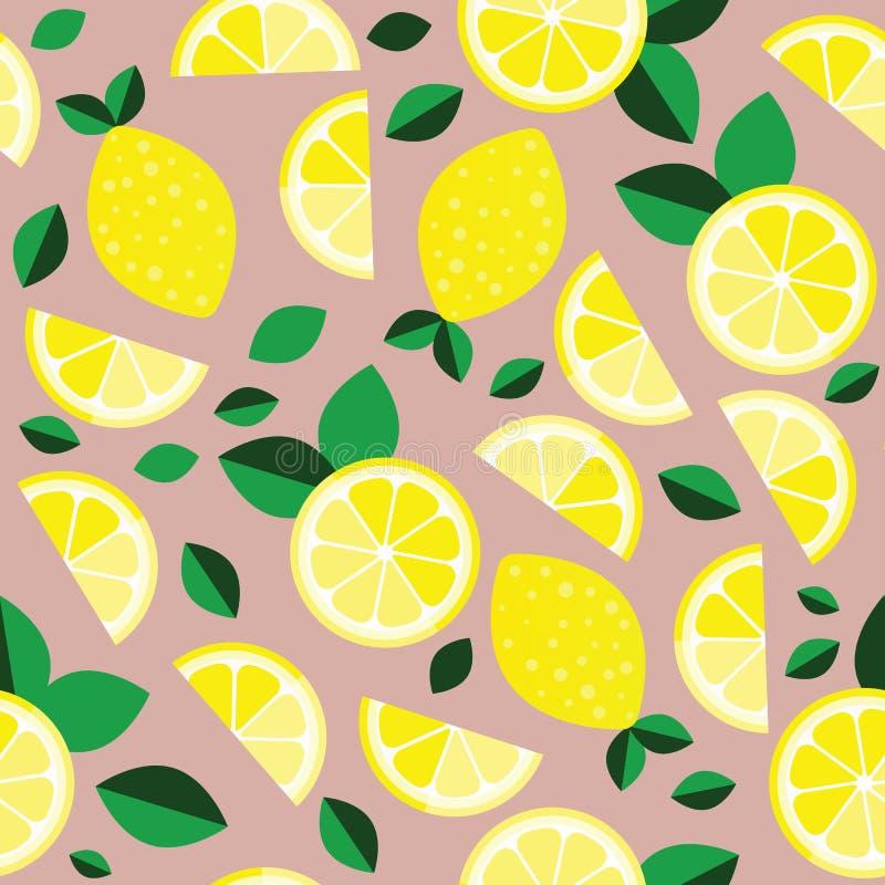 Fundo fresco dos limões Contexto de sobreposição tirado mão Vetor colorido do papel de parede Teste padrão sem emenda com citrina ilustração do vetor