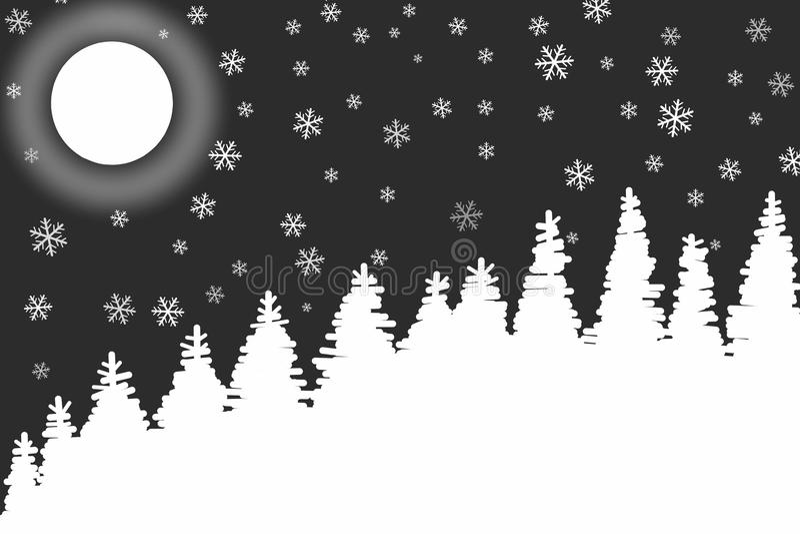 Fundo frio do branco do preto da noite do inverno ilustração do vetor