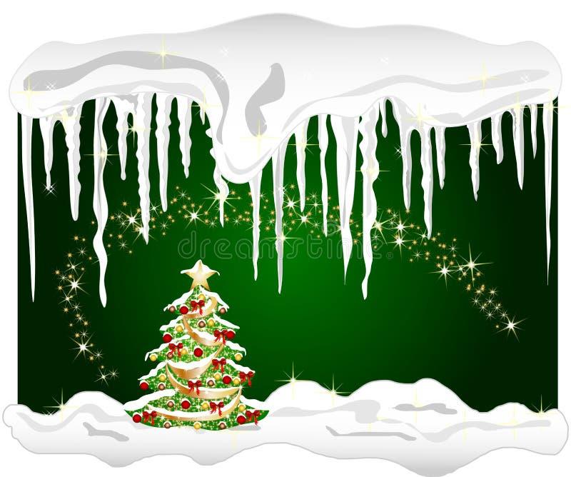 Fundo frio do inverno com árvore de Natal ilustração royalty free
