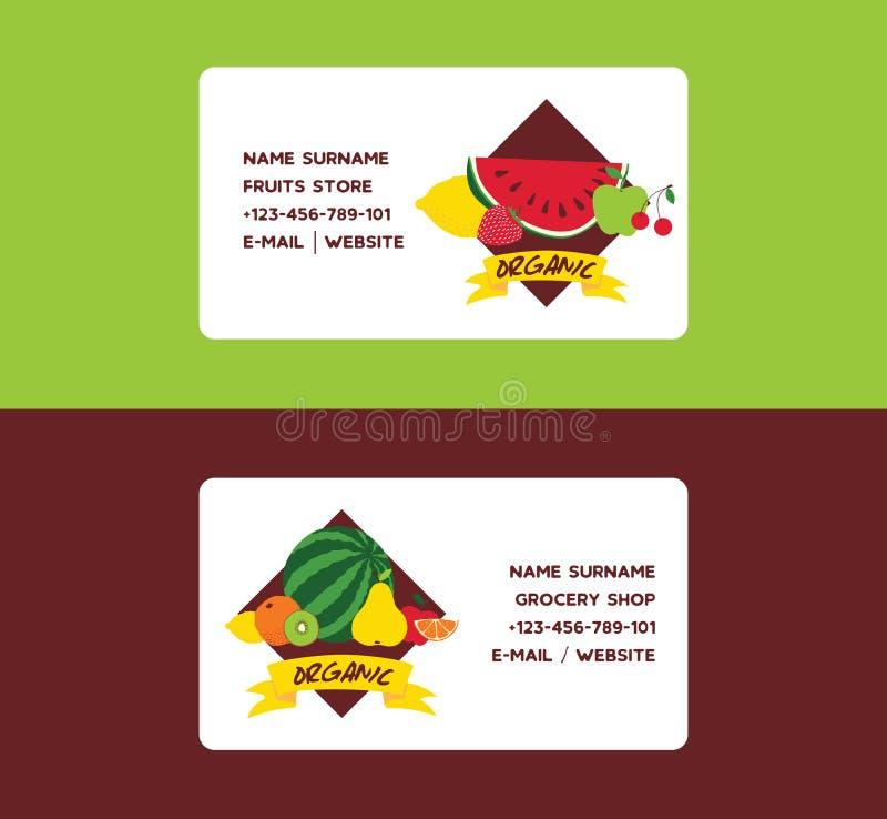 Fundo frutado do cartão do vetor do fruto e papel de parede exótico frutuoso com fatias frescas de maçãs alaranjadas da melancia ilustração stock