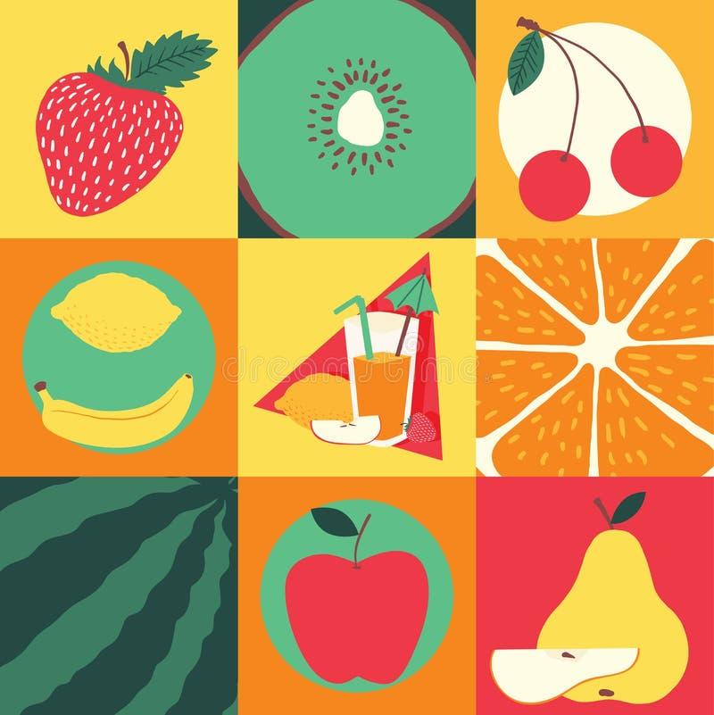 Fundo frutado do vetor sem emenda do teste padrão do fruto e papel de parede exótico frutuoso com fatias frescas de laranja da me ilustração do vetor