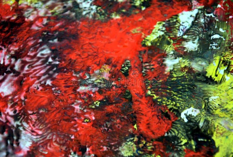 Fundo fumarento alaranjado verde vermelho vívido colorido, fundo de pintura da aquarela, cores abstratas de pintura fotografia de stock royalty free