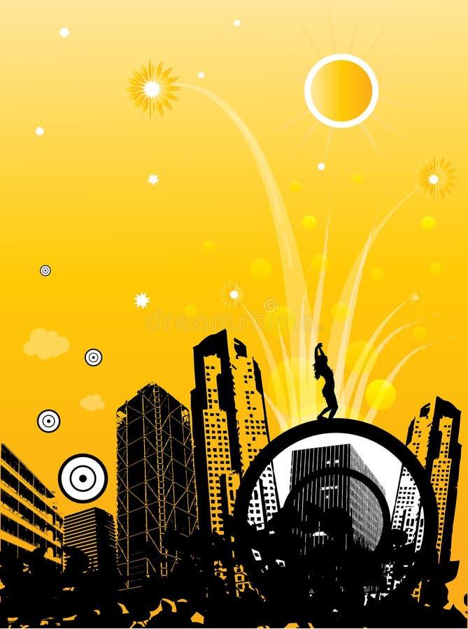 Fundo funky abstrato da cidade ilustração royalty free