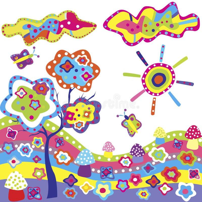 Fundo Funky com elementos coloridos ilustração do vetor