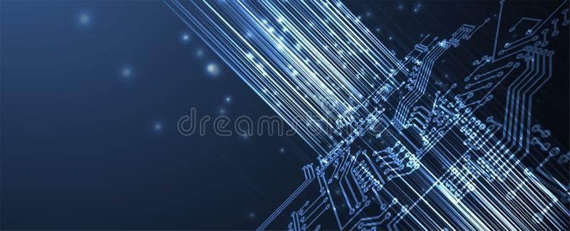 Fundo futurista abstrato da obscuridade do neg?cio da placa da tecnologia do Internet do computador do circuito ilustração do vetor