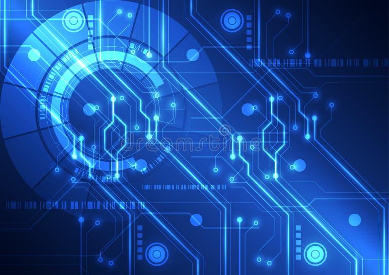 Fundo futurista abstrato da placa de circuito da tecnologia, ilustração do vetor
