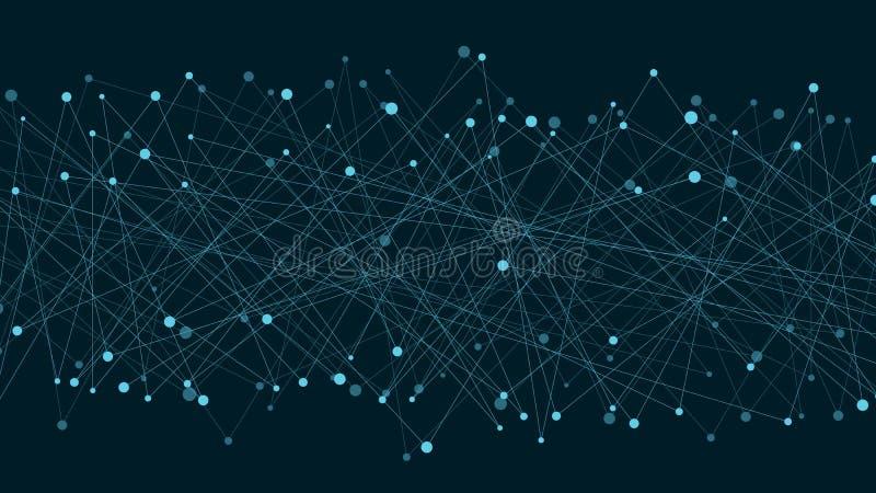 Fundo futurista abstrato de linhas e de pontos conectados As linhas de néon são azuis Movimento dos elementos Estilo do plexo Tec ilustração stock