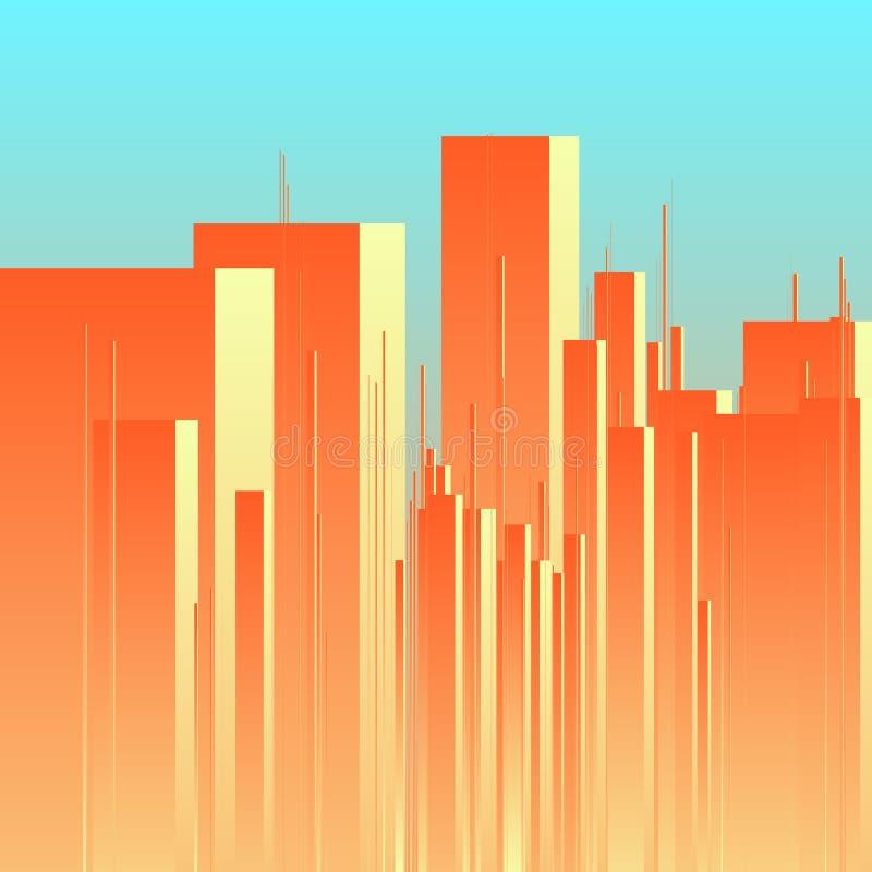 Fundo futurista abstrato do vetor da cidade Ideia do centro de cidade com torres ilustração royalty free