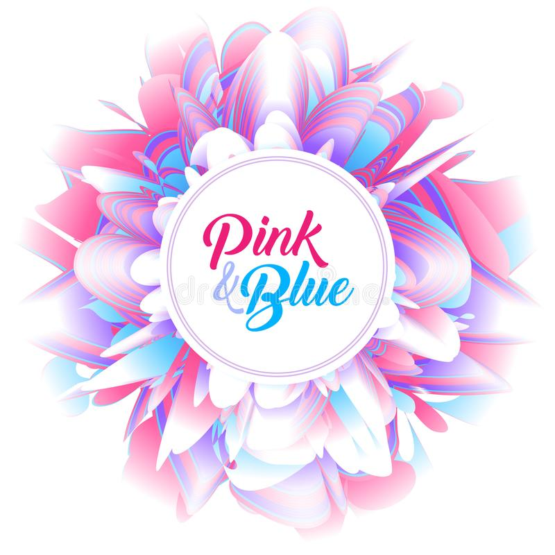 Fundo futurista abstrato, flor cor-de-rosa e azul fantástica da peônia ilustração royalty free