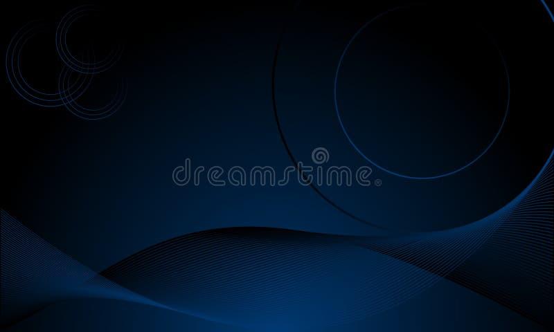 Fundo futurista azul do sumário com as ondas e círculos de néon de incandescência ilustração royalty free