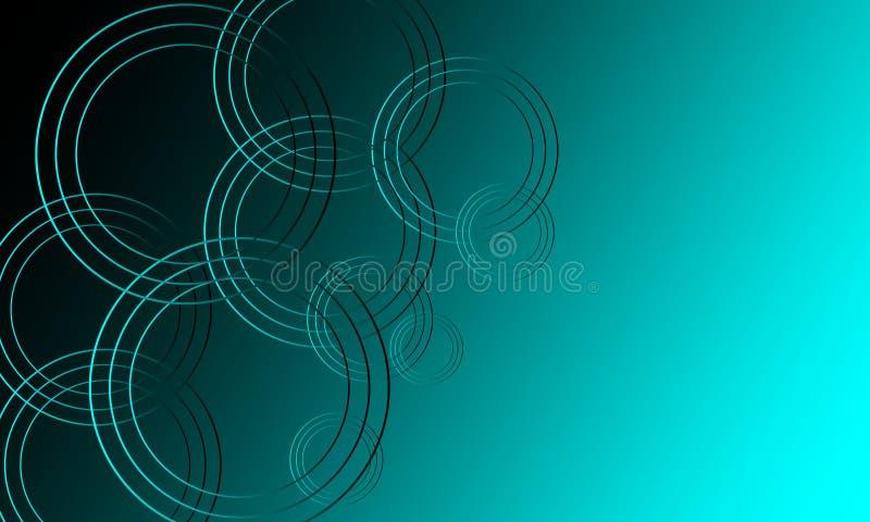 Fundo futurista azul do sumário com círculos de néon de incandescência ilustração royalty free