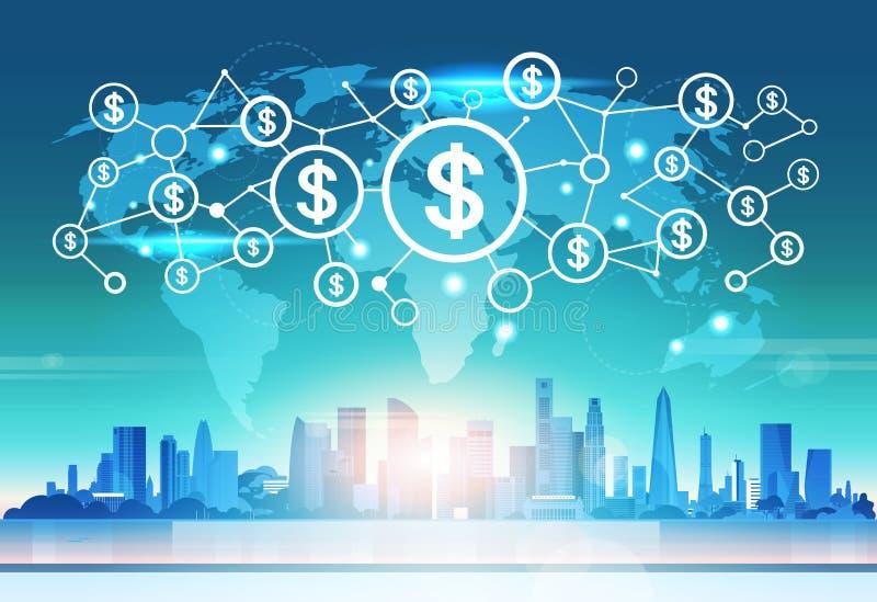 Fundo futurista da arquitetura da cidade do conceito da conexão de rede da relação do ícone do dinheiro do dólar do mapa do mundo ilustração do vetor