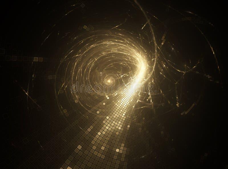 Fundo futurista da ficção científica dourada do sumário 3D ilustração stock