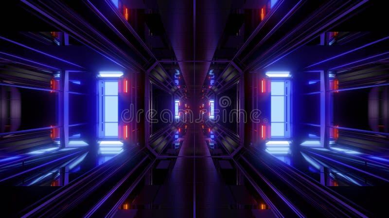 Fundo futurista da ilustração do corredor 3d do túnel da ficção científica ilustração do vetor
