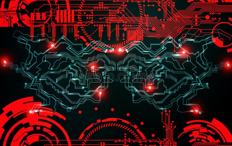 Fundo futurista da tecnologia do cyber do grunge abstrato Projeto de circuito da ficção científica Modelo na superfície suja velh ilustração do vetor