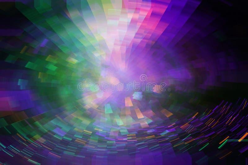 Fundo futurista do estilo retro dos anos 80 Digitas ou superfície do Cyber luzes de néon e teste padrão geométrico, pulso aleatór ilustração do vetor