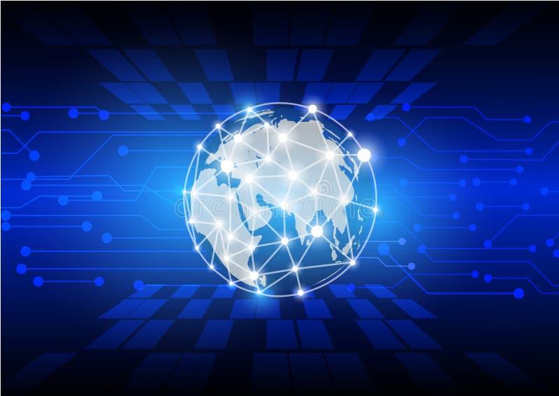 Fundo futurista do fluxo de uma comunicação da rede do mundo e do movimento do conceito da tecnologia, ilustração ilustração stock