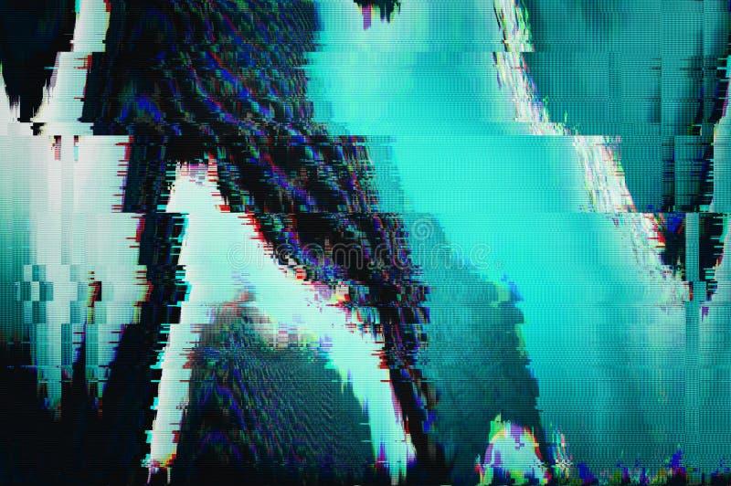 Fundo futurista do pulso aleatório Dano video do erro abstrato do pulso aleatório do ruído do pixel como o pulso aleatório do VHS foto de stock