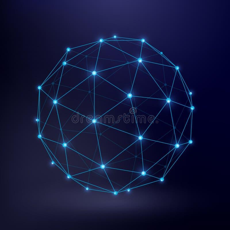 Fundo futurista do vetor da tecnologia com o gráfico do círculo da conexão do wireframe ilustração royalty free