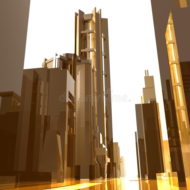 Download Fundo Futurista Dos Edifícios Da Cidade Do Ouro Ilustração Stock - Ilustração de metal, futuro: 10065431