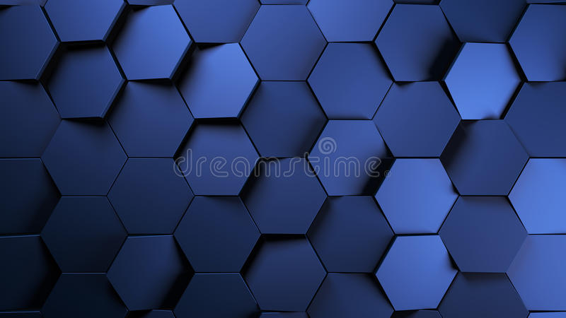 fundo futurista dos hexágonos do metal azul ilustração stock