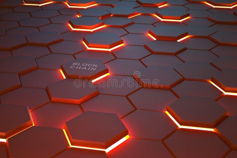 Fundo futurista que consiste ardendo os hexágonos arranjados em um plano fotos de stock