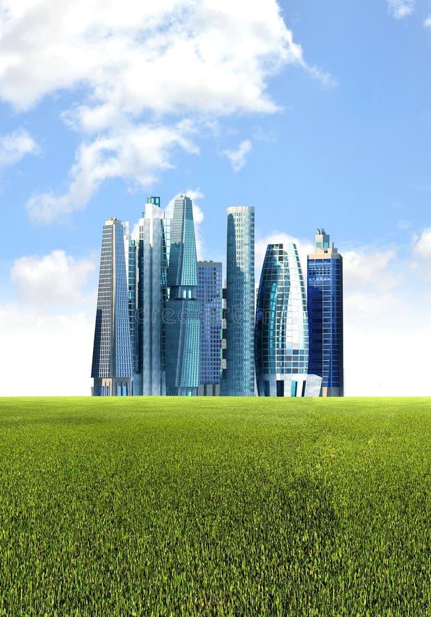 Fundo futurista verde da cidade ilustração stock
