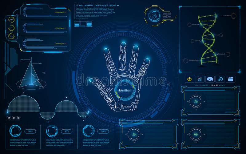 Fundo futuro do conceito da tela inteligente esperta abstrata da relação de UI HUD ilustração stock