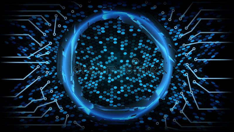 Fundo futuro do conceito do Cyber da tecnologia Projeto de Digitas da velocidade do sumário olá! Contexto da rede da segurança Ve ilustração royalty free