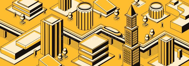 Fundo futuro do vetor das ruas da metrópole ilustração royalty free