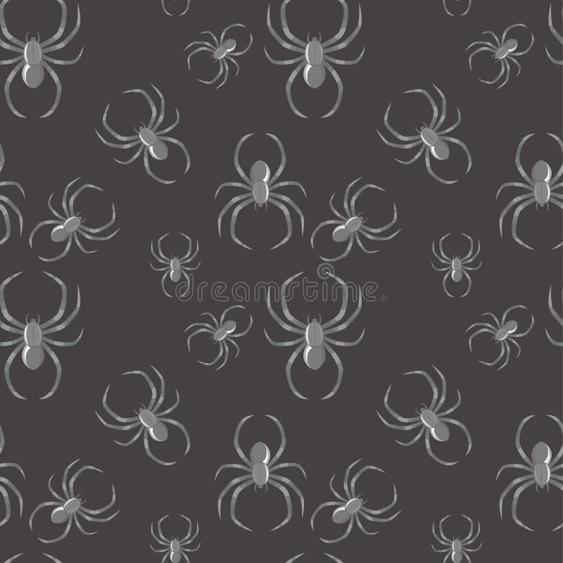 Fundo gótico do teste padrão sem emenda da aranha ilustração do vetor