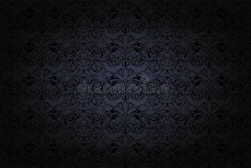 fundo gótico do vintage em cinzento e preto escuros ilustração stock