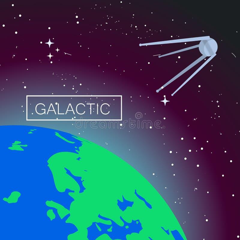 Fundo galáctico do conceito do espaço, estilo liso ilustração stock
