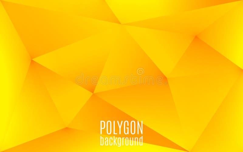 Fundo geométrico abstrato amarelo O polígono dá forma ao contexto Baixo mosaico poli triangular Molde creativo do projeto ilustração stock