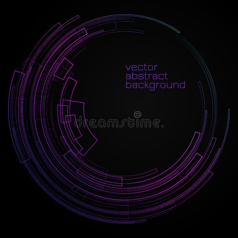 Fundo geométrico abstrato com círculo brilhante do círculo concêntrico nas linhas decorativas geométricas gráficas do fundo escur ilustração stock