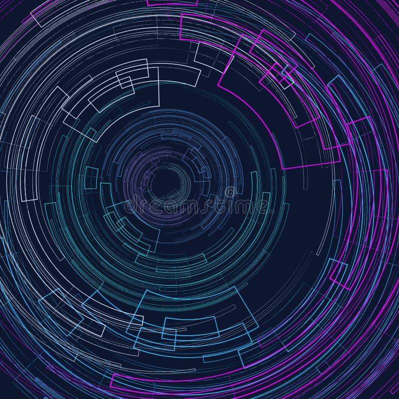 Fundo geométrico abstrato com círculos brilhantes dos círculos concêntricos em um escuro - linhas decorativas geométricas do gráf ilustração do vetor