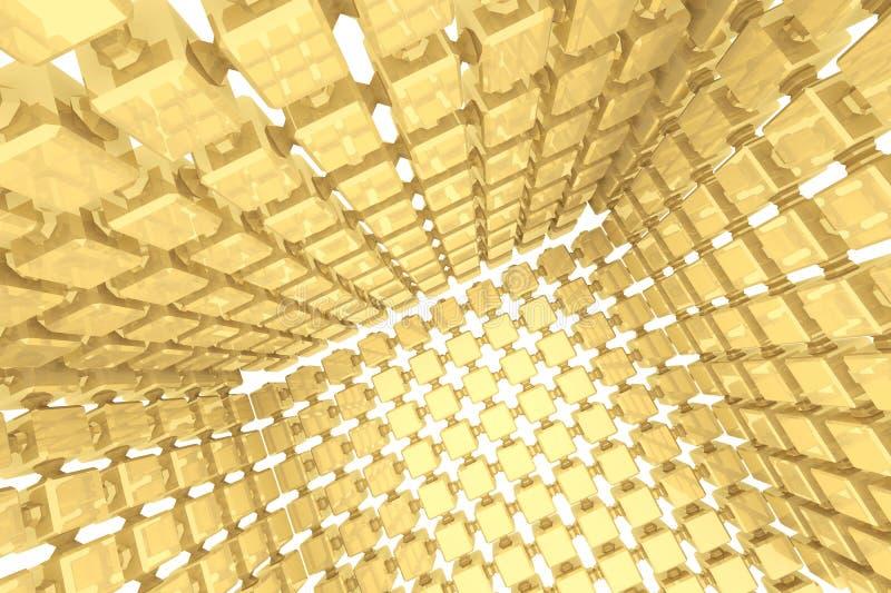 Fundo geométrico abstrato com cubos dourados ilustração do vetor