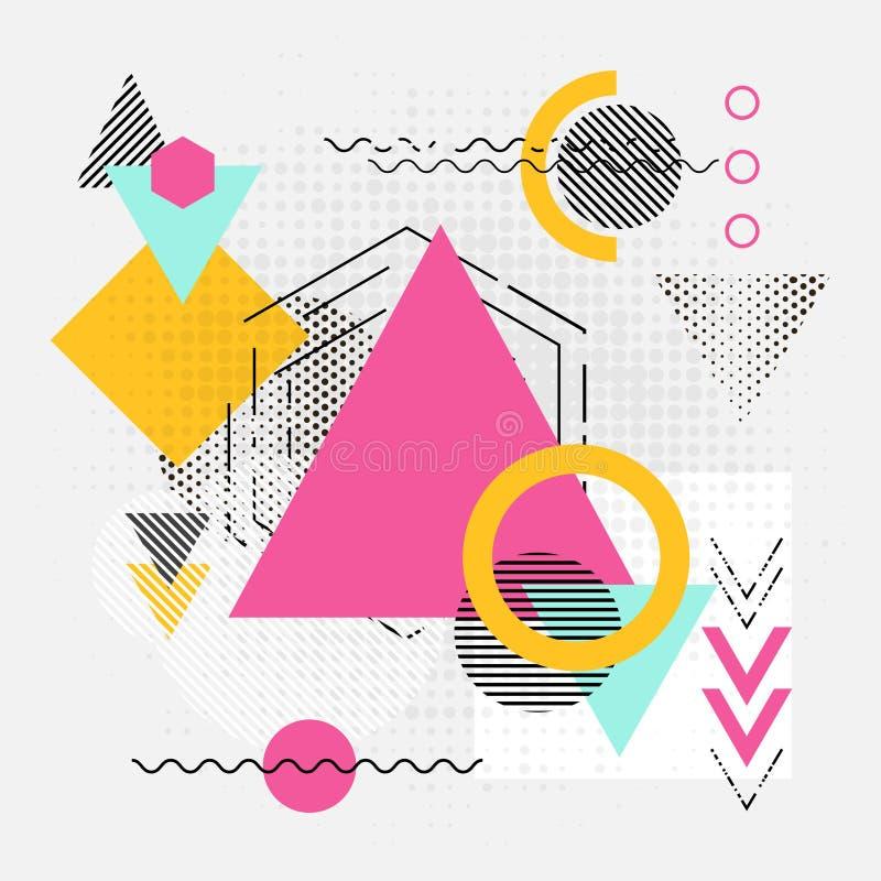 Fundo geométrico abstrato das formas com linhas, setas e triângulos ilustração stock