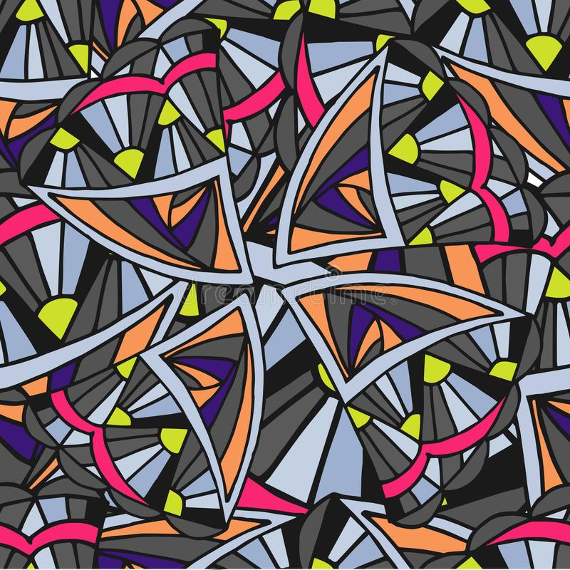 Fundo geométrico abstrato do teste padrão da garatuja ilustração royalty free