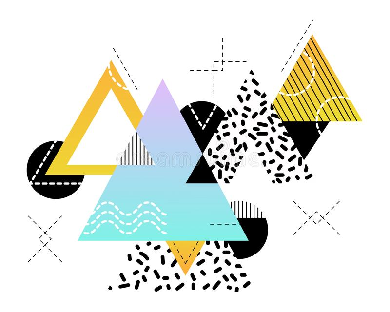 Fundo geométrico abstrato em cores preto e branco e com acentos coloridos brilhantes ilustração royalty free