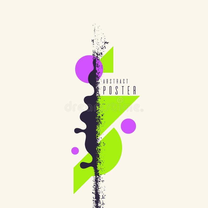 Fundo geométrico abstrato retro O cartaz com as figuras lisas ilustração do vetor